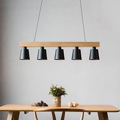 ZMH Lustre Retro Suspension LED Lampe à suspension en bois et métal Lampe suspension Lampe suspension Pendante & Lampe plafonnier E27 Ampoules pour salle à manger salon bureau café Moderne noir
