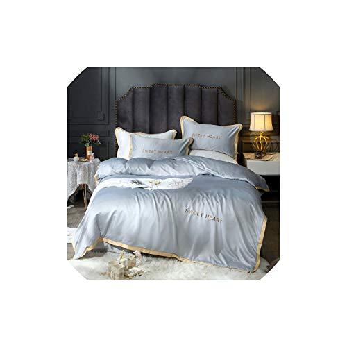 Black-Sky Home Textile Bettwäsche-Sets Adult Bettwäsche Bett Weiß Schwarz Bettbezug König Queen Size Bettbezug Brief Bettwäsche Tröster, Grau, Königin cover200by230, Spannbettuch -