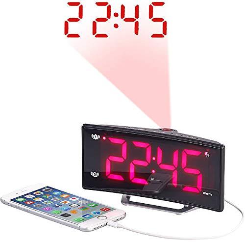 Auvisio–Despertador con Alarma Dual: 51425–Radio Despertador con Curved de Pantalla, Dual de Alarma & Puerto USB (Radio de Despertador proyección USB)