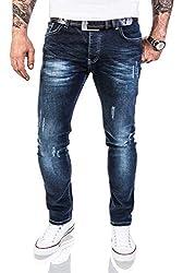 Rock Creek Designer Herren Jeans Hose Stretch Jeanshose Basic Slim Fit [RC-2118 - Night Blue - W40 L32]
