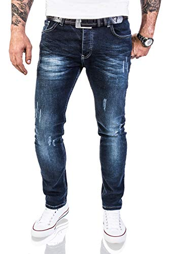 Rock Creek Designer Herren Jeans Hose Stretch Jeanshose Basic Slim Fit [RC-2118 - Night Blue - W34 L30] -