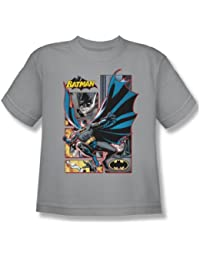 Justice League - Batman Panels Youth T-Shirt In Silver