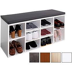 RICOO Schuhregal mit Sitzfläche Schuhschrank WM033-W-A Schuhablage Schuhkommode Organizer Boden Standregal Garderobe Möbel Rack Kissen Polster Polsterung Grau Holz Weiß