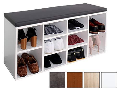 Ricoo scarpiera da ingresso wm033-w-a armadietto armadio con scaffale e scompartimenti panca sedile comodo scarpe ripiano seduta cuscino cassapanca organizer portascarpe salvaspazio in legno bianco