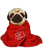 """Oz International Double Layered Pet Blanket Dog Blanket, Soft and Extra Warm Paw Design Throw Blanket Sleep Mat for Puppy Small Medium Large Dogs & Cats Blankets Blankets (40""""x31"""", red paw)"""