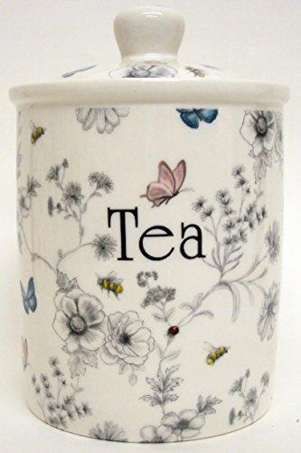Secret Garden Boîte à thé en porcelaine anglaise Fleurs Papillons abeilles Bocal décorée à la main au Royaume-Uni.