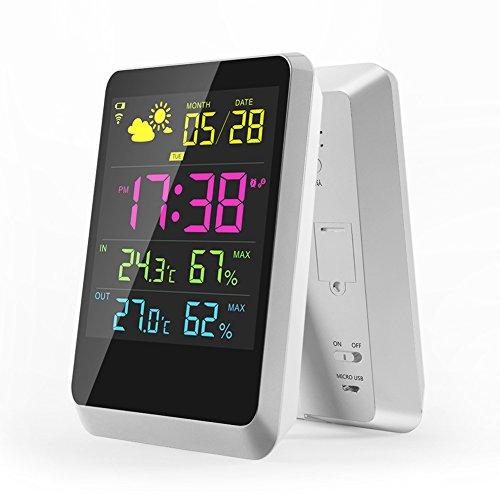 Cimostyle Wetterstation Funkwetterstation Mit LCD Farbdisplay Wetterstation Mit Außensensor Empfangssignal Innen-und Außentemperatur Wettervorhersage-Piktogramm Tendenzanzeige uvm (Quadratisch Wetterstation)