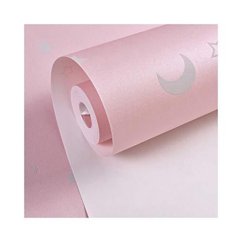 GUORANSU Glow-Effekt Nachthimmel Design Sterne und Mond leuchtende Tapete Kinder Decke Dekor Fluoreszierende Tapeten für Kinder Schlafzimmer Hintergrundbild (Color : Pink) -