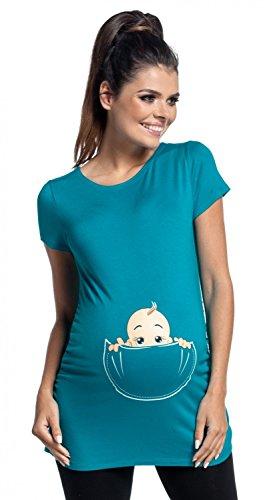 Zeta Ville Maternité - Top shirt de grossesse motif humour imprimé - femme 501c Aqua
