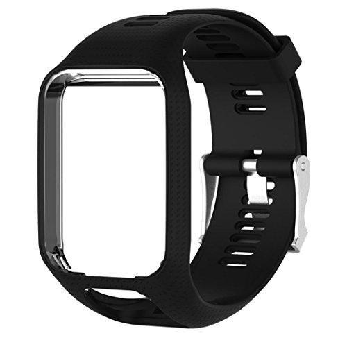 Ouneed Replacement Armband Weiche Silikon sport Fitness Farbe Adustable Band Gel Wristband Strap Watch Band für TomTom Runner 2/ Runner 3/ Spark 3/ Spark/ Golfer 2 (Schwarz)
