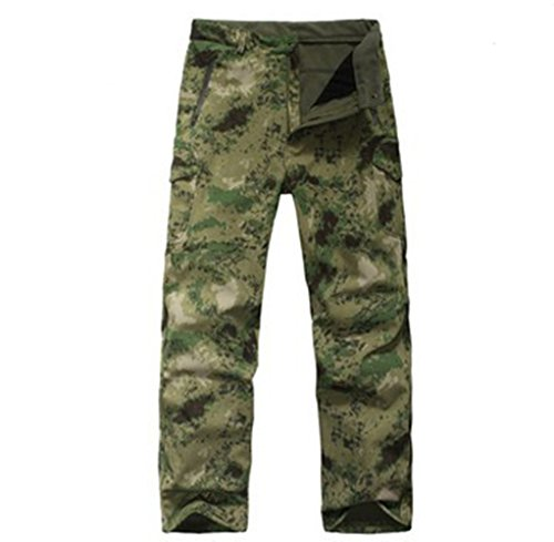 Pantaloni da uomo da caccia, impermeabili, motivo mimetico, imbottiti con pili, resistenti all'usura, Green Ruins Camouflage, XXL