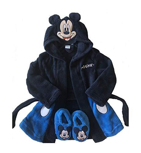 Disney accappatoio bambini neonati topolino babbucce antiscivolo (nero e blu, 9/12 mesi)