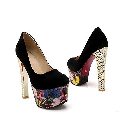 VogueZone009 Femme Suédé Tire Rond à Talon Haut Chaussures Légeres Noir