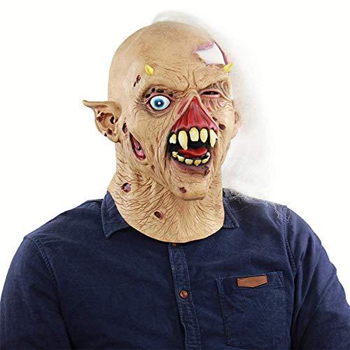 Kostüm Abschlussball Zombie - QHWJ Halloween-Horror-Maske, Zombie-Schädel-Zahn-Weiß-Haar-Faule Blutige Alte Einäugige Unisex-Erwachsenen-Latex-Maske, Parodie-Abschlussball-Kostüm-Partei-Spukhaus-Stange KTV-Requisiten