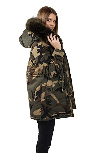 Freshlions Parka da donna lungo camouflage – Cappuccio XXL rimovibile – Fodera in pelliccia sintetica di vari colori Verde scuro