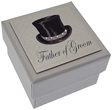 White Cotton Cards Father of The Groom Mini Wedding Table Favour Box with Top Hat Design