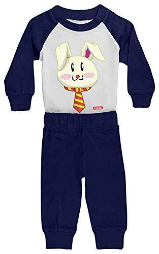 HARIZ Baby Pyjama Osterhase Sonnenbrille Tiere Zoo Plus Geschenkkarte Weiß/Navy Blau 0-6 Monate