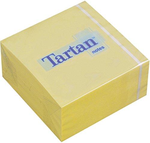 Tartan 7676C-Y - Bloque de notas adhesivas (76 x 37 x 76 mm, 63 g/m², 400 hojas), color amarillo