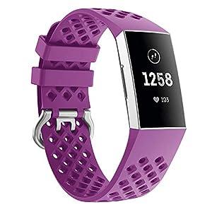 Cooljun Für Fitbit Charge 3 Armband, Weiche Silikon Ersatz Uhrenarmband Sport Ersatzuhrband Klassisch Armband für Fitbit Charge 3