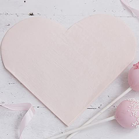 Ginger Ray Pink Heart Shaped Paper Party Napkins x 16 Pack - Princess Perfection