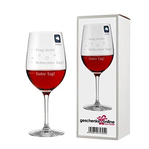 Leonardo Weinglas XL, Guter Tag!, Schlechter Tag!, Frag Nicht!, Geschenk Stimmungsglas mit lustiger Gravur, Mood Wein Glas, 610ml (Geschenkideen)