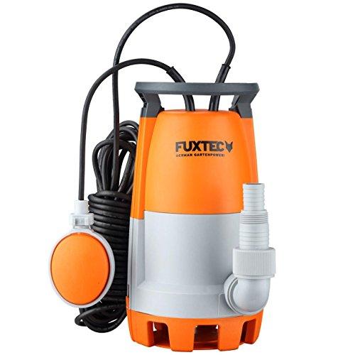FUXTEC Teichpumpe Schmutzwasserpumpe Tauchpumpe 350 Watt, max. 7500 l/h, max. 7 m Förderhöhe, Fremdkörper bis 20 mm, stufenloser Schwimmerschalter