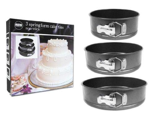 Pack of 3 Non-Stick Springform Round Cake Tins for Baking 18cm, 22cm & 26cm -