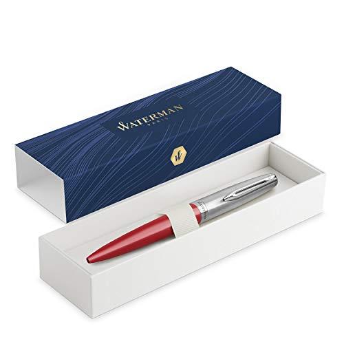 Waterman Emblème penna roller, rossa con finiture cromate, punta fine con ricarica di inchiostro nero, confezione regalo