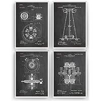Tesla Poster de Patente - Pack de 4 Láminas - Tamaño A4 21 x 29.7 cm - Patent Póster Con Diseños Patentes Decoracion de Hogar Inventos Carteles Prints Posters Regalos - Marco No Incluido