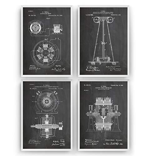 Nikola Tesla Patent Poster - Satz von 4 - Engineer Ingenieurwesen elektrisch Ingenieur Wissenschaft Science Print Mauer Vintage Poster Art Kunst Zeichnungen Geschenke Vater - Rahmen nicht enthalten
