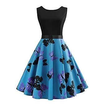 Damen Kleider Frauen Vintage Retro Blumen Drucken Prinzessin Abendkleid Hevoiok Kleidung Mode Bodycon Partykleid Elegant Ärmellos Prom Swing Kleid (Blau, S)