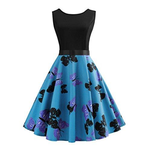 Vintage Retro Blumen Drucken Prinzessin Abendkleid Hevoiok Kleidung Mode Bodycon Partykleid Elegant Ärmellos Prom Swing Kleid (Blau, 2XL) (Prinzessin Kleider Frauen)