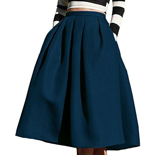 Femme Jupe Patineuse Élégante Midi Jupe Plissée Avec Poche Bleu Marine