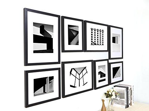 Ray & Chow Schwarz Bilderrahmen Wand Set Collage- Echtholz - Glasscheibe -enthält Passepartout - Rahmenbreite 2cm-8er (Schwarz 4x6 Bilderrahmen)