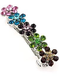 Féminine barrette à cheveux couleur argent ornée de 5 fleurs couvertes de pierres de Strass multicolores de différents tons IMB2093
