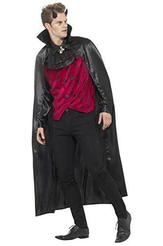 Teufel Süßes Kostüm (Smiffys, Herren Eleganter Teufel Kostüm, Weste mit Hemd und Umhang, Größe: L,)