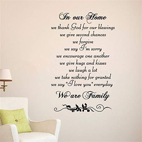 Wandaufkleber Bei uns zu Hause danken wir Gott für unseren Segen. Wir geben die zweite Chance, dass wir als Familie für das Schlafzimmer im Wohnzimmer vergeben