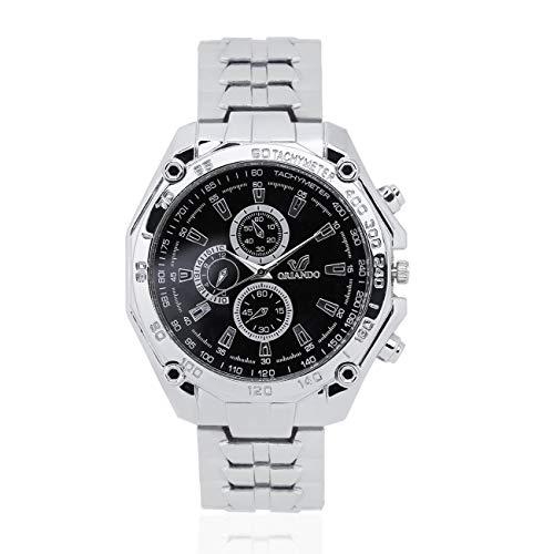 Elviray fashion noble orologio al quarzo in acciaio inossidabile orologio analogico casuale di cristallo militare 3 sub quadranti per la decorazione