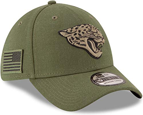 New Era Jacksonville Jaguars 39thirty Stretch Cap On Field 2018 Salute to Service Green - M - L