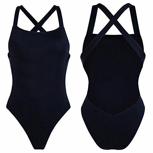 2017 Neue Damen Tankini Einteilige Bikini Bandage Badeanzug Monokini mit Gepolsterte Cups Schwarz