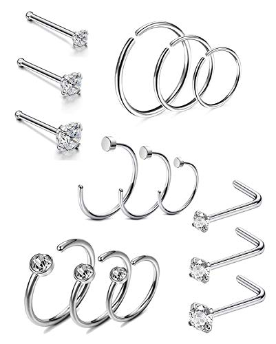 Milacolato 14-21 Pcs Stainless Steel Hoop Nose Rings Nose Ring Stud Body Piercing Jewelry CZ Inlaid 1.5MM 2MM 2.5MM 3MM