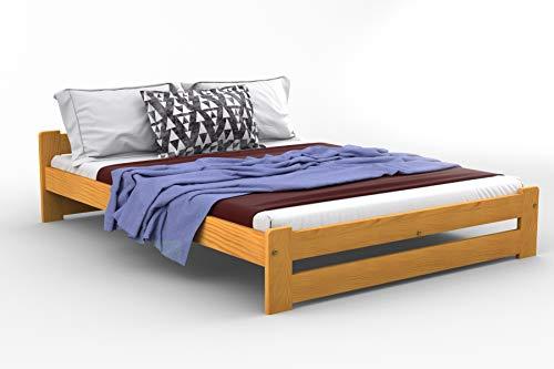 Massivholz-Bett wahlweise in Kiefer, Eiche, Erle oder Walnuss, Modell Niva 120 x 190 cm Ontano
