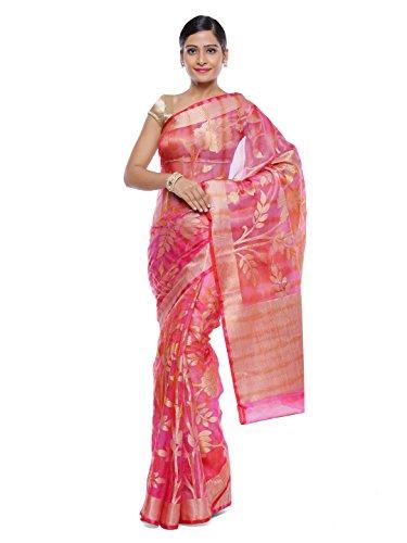 Style-In-Banaras Women's Organza Saree (Pink)