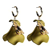TALQF Rose Petals Earrings 15g Exaggerated Alloy Paint Multi-layered Petal Earrings INS Style Jewelry 7 * 2.2cm Q2E7NF (Color : Red)