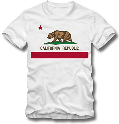 URBAN KULT T SHIRT CALIFORNIA REPUBLIC FLAG LOS ANGELES SAN FRANCISCO RETRO STYLE, XL