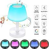 Lámpara de Noche LED, Luz de Noche con Altavoz Bluetooth, Control Tactil, Regulable, USB Recargable, Cambio de Colores, Reproductor de MP3 para Niños, Habitación, Cámping...