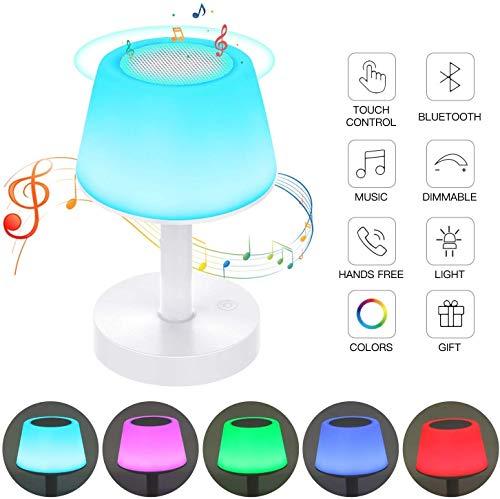 Nachttischlampe Touch Dimmbar mit Bluetooth Lautsprecher, LED Nachtlampe Stimmungslicht, 3 Heilligkeiten mit 7 Farbwechsel, Haken Design für Camping, Romantische Geschenke - Uverbon
