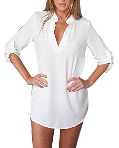 Donna V-Neck Chiffon Maniche Lunghe Camicetta Relaxed Camicia Tops Lungo Shirt Bianca