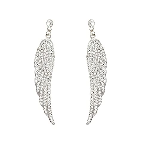 EVER FAITH® Austrian Crystal Angel Wing Dangle Earrings Clear Silver-Tone A13220-1