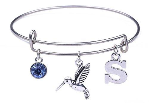 fishhook Animal Kolibri Buchstabe S Anhänger Geburtsstein Edelstahl DIY Armband